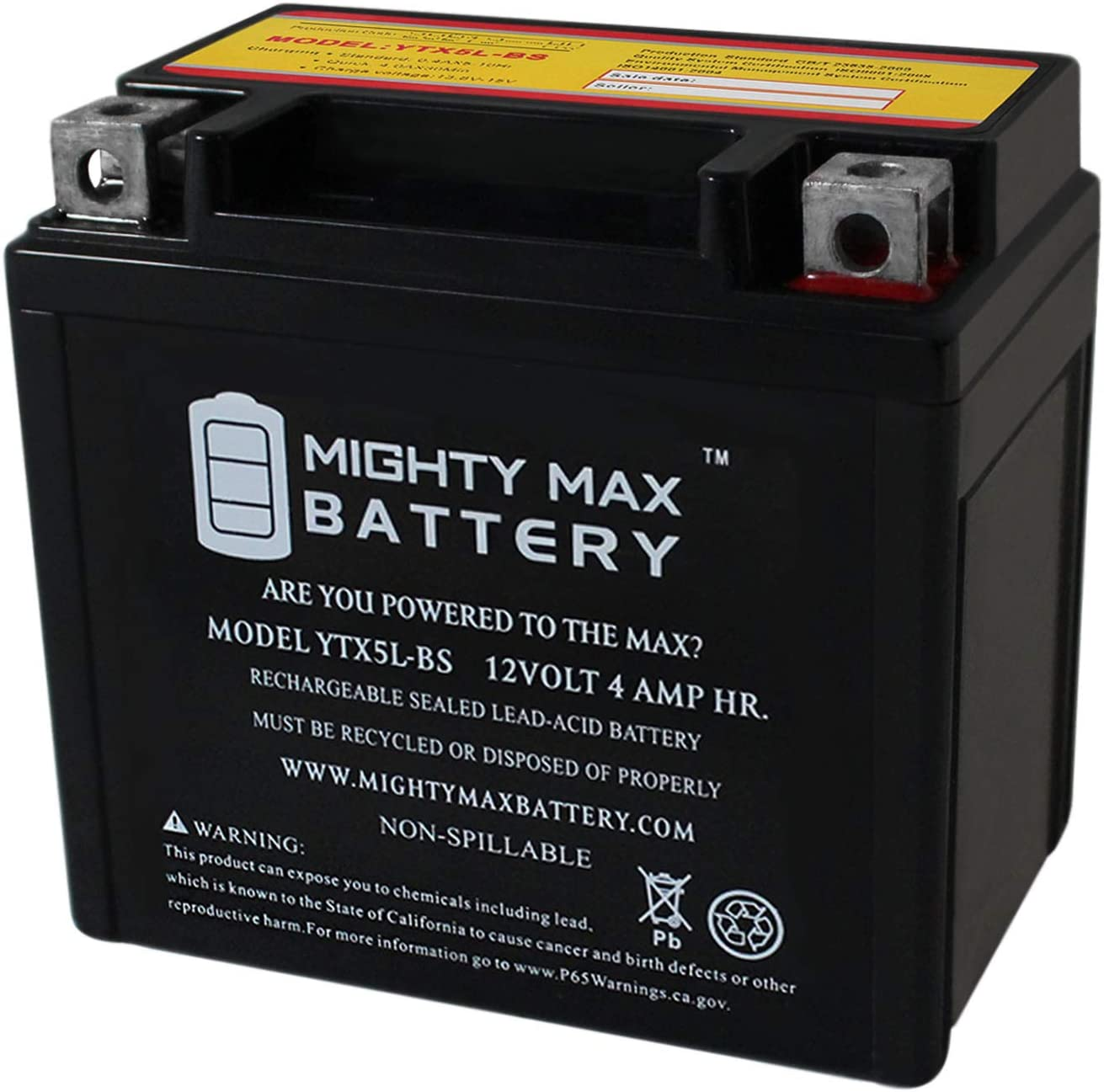 Mighty Max Battery YTX5L-BS Replacement for 50cc 90cc ATV Scooter 12V Battery Brand Product