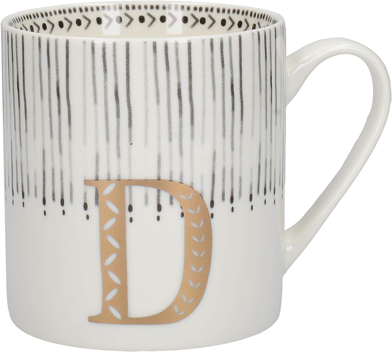 Creative Tops Alphabet Mug with Novelty 'D' Design, Fine China, Multi-Colour, 350 ml (4 of 26 Letter Mugs)