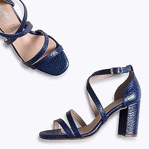Estilo - Sandalia de Vestir Azul con Tiras: Amazon.es: Zapatos y ...