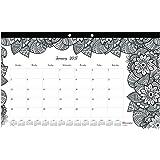 Blueline 2017 Monthly Coloring Desk Pad Calendar, Botanica, January-December (C2917001-17)