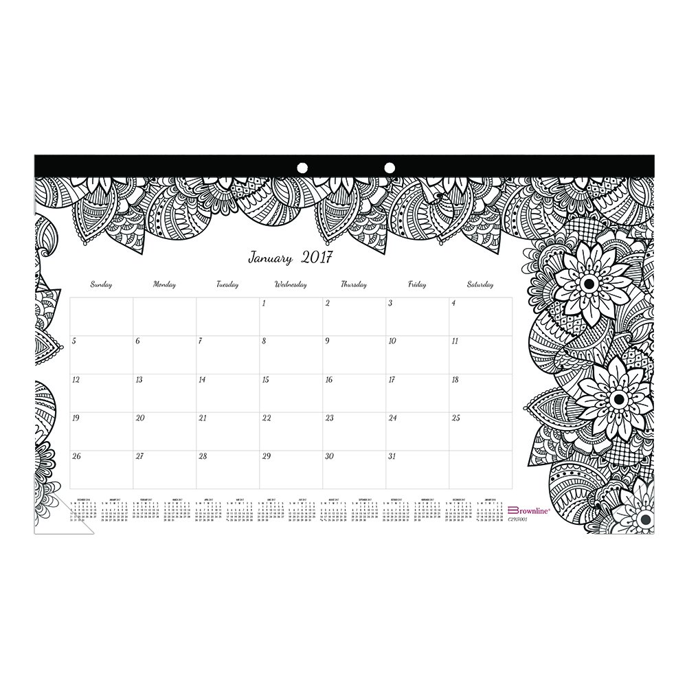 amazoncom blueline 2017 monthly coloring desk pad calendar botanica january december c2917001 17 office products