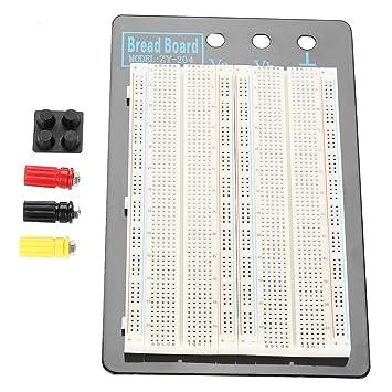 Akozon Tablero de circuitos sin Soldadura Protoboard 1660 Puntos ...
