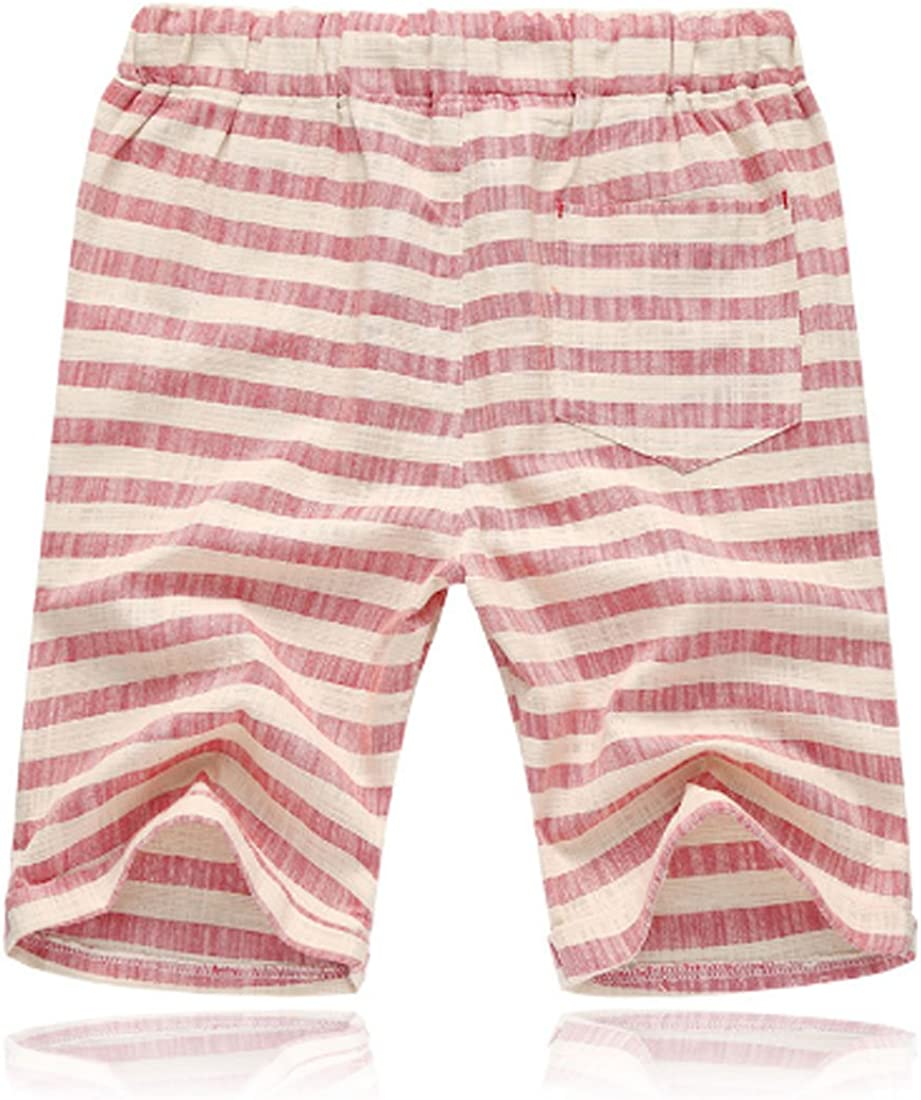Summer Men Stripe Pattern Beach Shorts Cotton Swimwear Drawstring Waist Loose Shorts