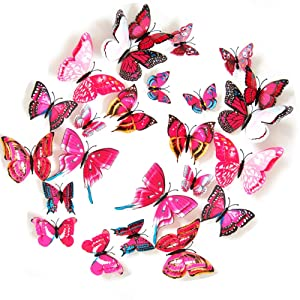 JYPHM 24PCS 3D Butterfly Wall Decal Double Wings Removable Refrigerator Magnets Stickers Decor for Kids Room Decoration Home and Bedroom Art Mural Red