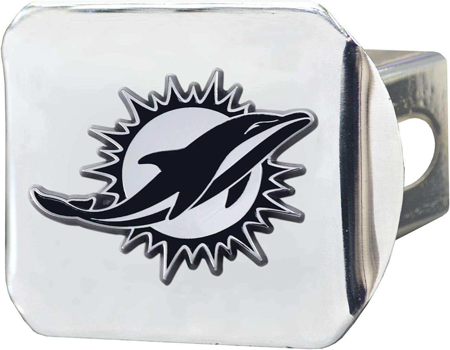 2 Square Type III Hitch Cover FANMATS 15602 NFL Miami Dolphins Metal Hitch Cover Chrome