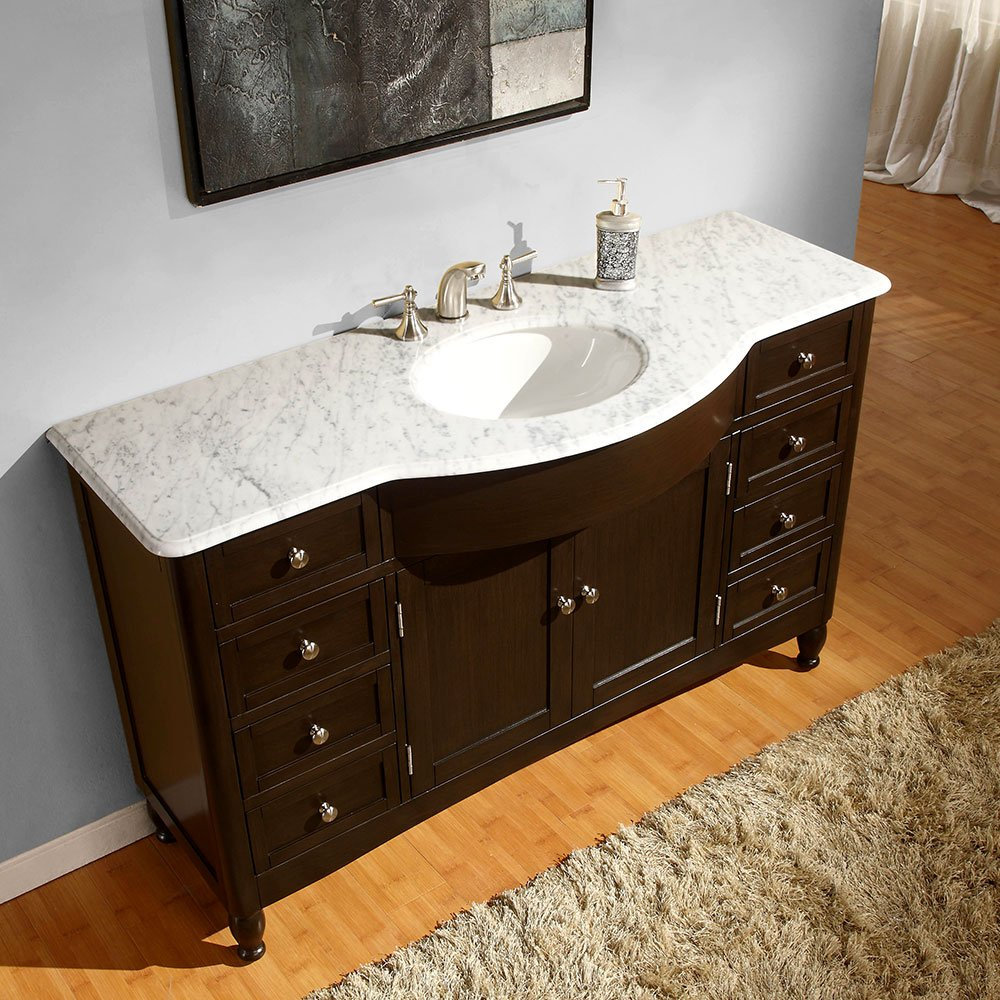 Amazon.com: Silkroad Exclusive Marble Top Single Sink Bathroom Vanity With  Dark Walnut Finish Cabinet, 58 Inch: Home U0026 Kitchen