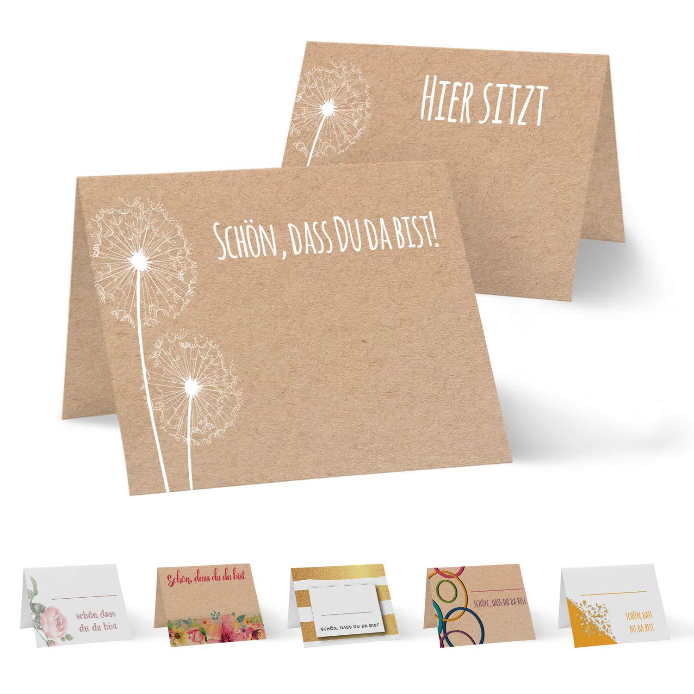 Partycards 50 tischkarten platzkarten din a7 für hochzeit geburtstag kommunion taufe kraftpapier und pusteblume amazon de küche haushalt