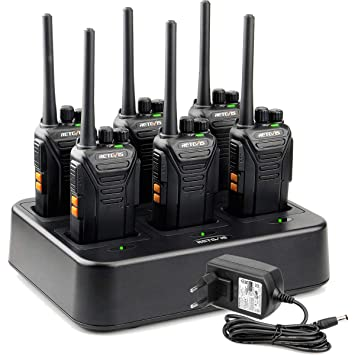 Retevis RT27 Walkie Talkie Recargable PMR 446 Sin Licencia 16 Canales Two Way Radio VOX 50 CTCSS 210 DCS Walkie Talkies con Cargador De 6 Ranuras ...
