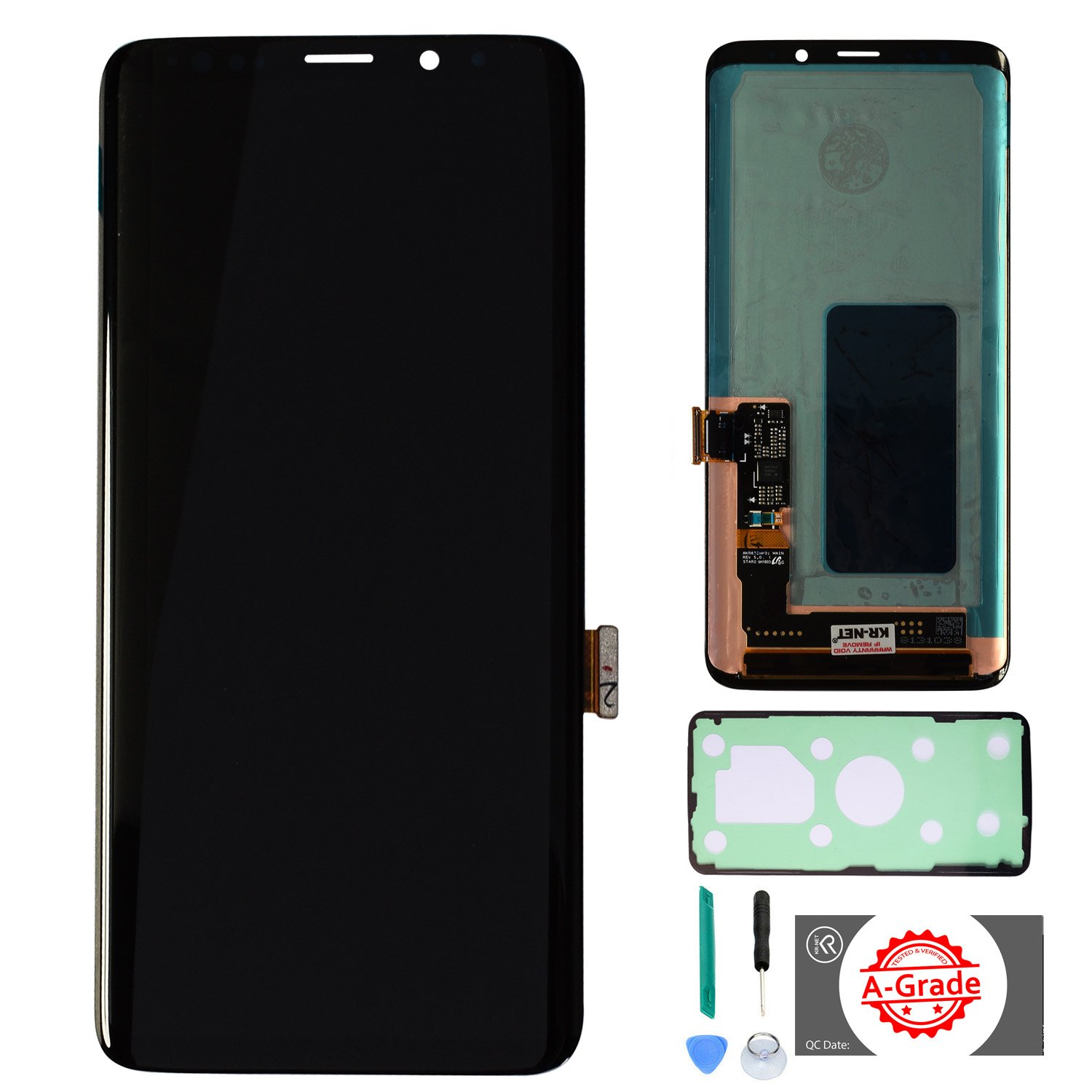 KR-NET AMOLED LCD Display Touch Screen Digitizer Assembly Replacement for Samsung Galaxy S9+ Plus SM-G965, with Adhesive and Tools
