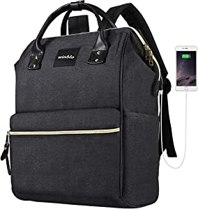 Laptop Backpack, Winblo 15.6 Inch Stylish School Computer Backpack Casual Daypack Laptop Bag Water Repellent Business Bag Tablet with USB Port for Travel/Business/College/Women/Men