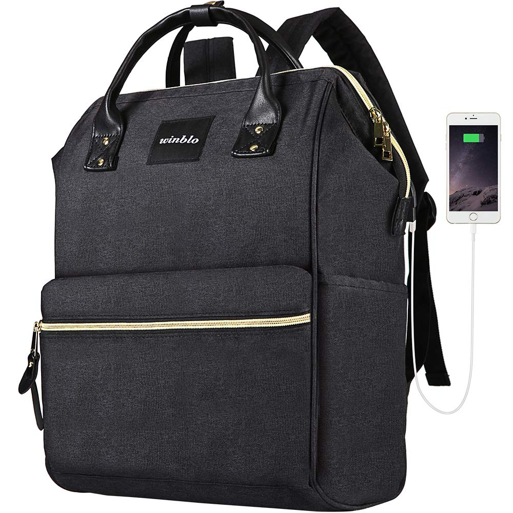 Laptop Backpack, Winblo 15.6 Inch Stylish School Computer Backpack Casual Daypack Laptop Bag Water Repellent Business Bag Tablet with USB Port for Travel Business College Women Men
