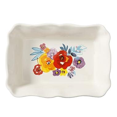 The Pioneer Woman Flea Market Decorated 2.3-Quart Ruffle Top Stoneware Bakeware