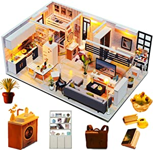 Spilay DIY Miniature Dollhouse Wooden Furniture Kit,Handmade Mini Modern Model Plus with Dust Cover & Music Box ,1:24 Scale Creative Doll House Toys for Children Girl Lover (Beautiful Time)