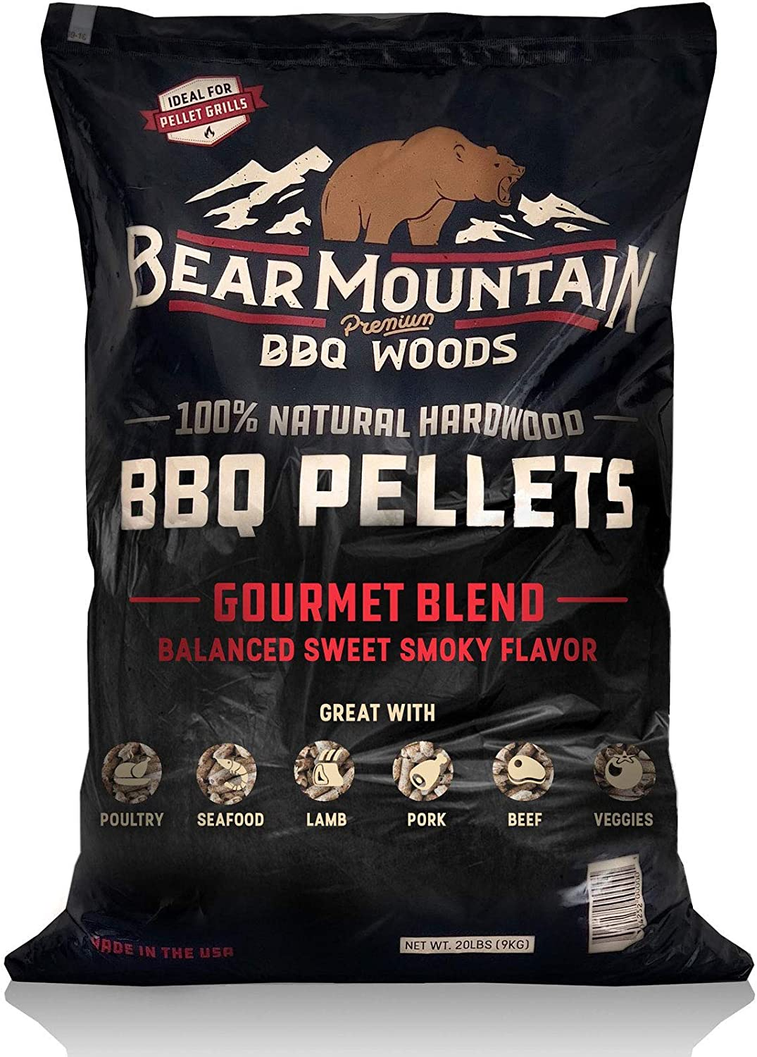 Perfect for Pellet Smokers 20 lb. Bag Apple Wood Mild Sweet Smoky Wood-Fired Flavor or Any Outdoor Grill Bear Mountain BBQ 100/% All-Natural Hardwood Pellets