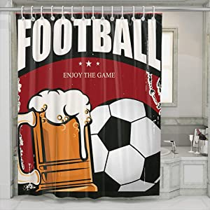 Hoooottle Shower Curtain Retro Banner a Cup of Beer and Ball Sports Bar Menu Waterproof Bathroom Decoration Shower Curtain 60W x 72L Inch Single Sided HD Print