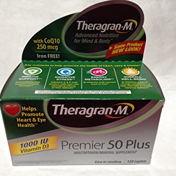 Multivitamin / Multimineral Supplement with Lutein & Lycopene, 130 Caplets. Premier 50 Plus By
