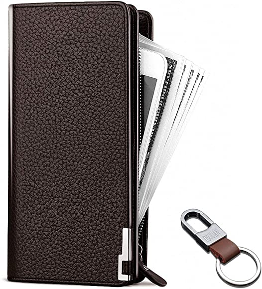 1e1a30fb1bfd 長財布 メンズ 二つ折り財布 本革 大容量 人気 ボックス型小銭入れ 薄い ブラック 多機能 ラウンドファスナーDSGUAN