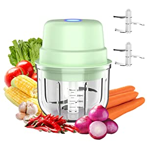 Wireless Electric Mini Food Chopper 250ML,Portable Garlic Blender Press Chopper with USB Charging,Small Food Processor Perfect for Vegetables,Fruit,Meats,Garlic (Glass Bowl)
