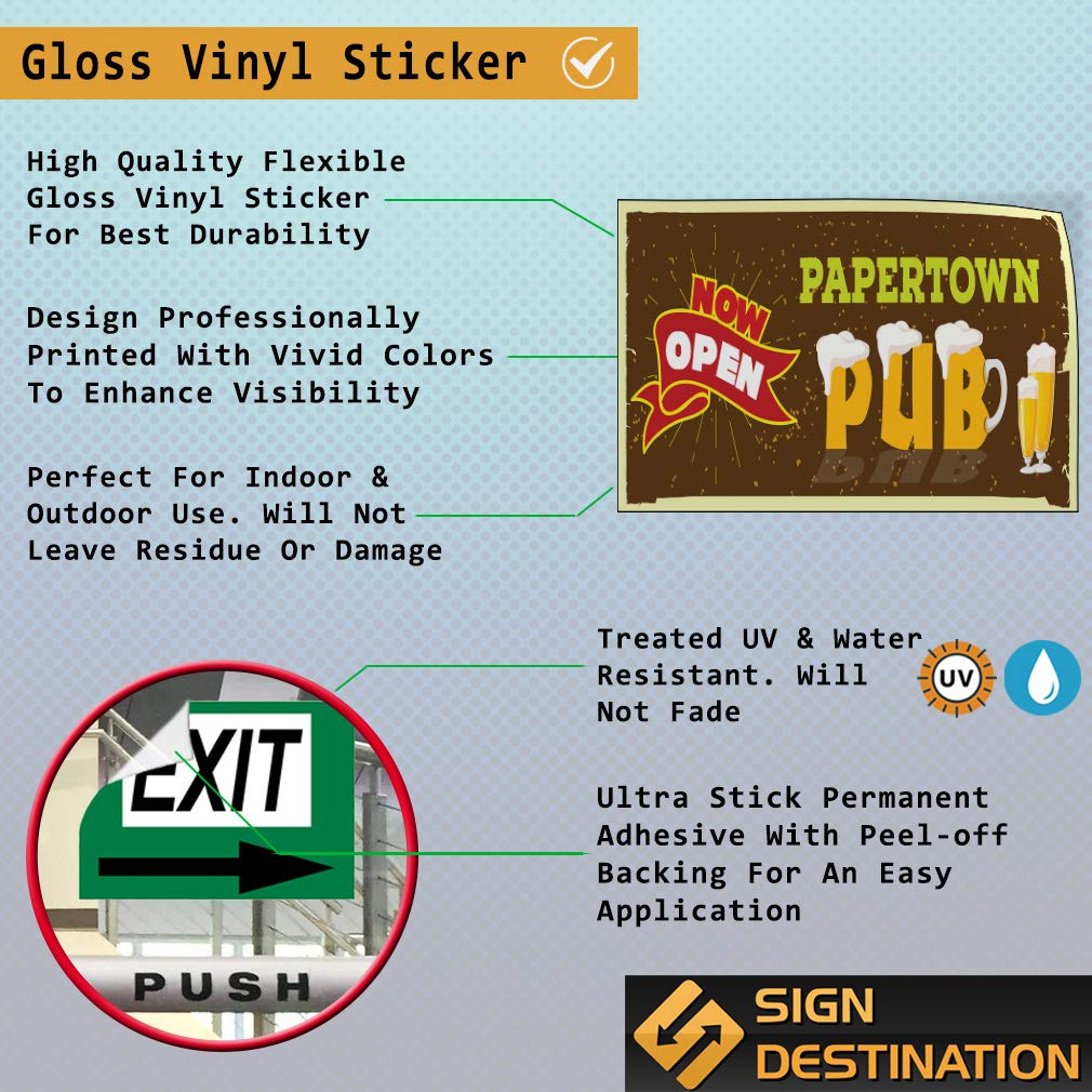 Custom Door Decals Vinyl Stickers Multiple Sizes Now Open Papertown Pub Business Now Open Outdoor Luggage /& Bumper Stickers for Cars Brown 52X34Inches Set of 2