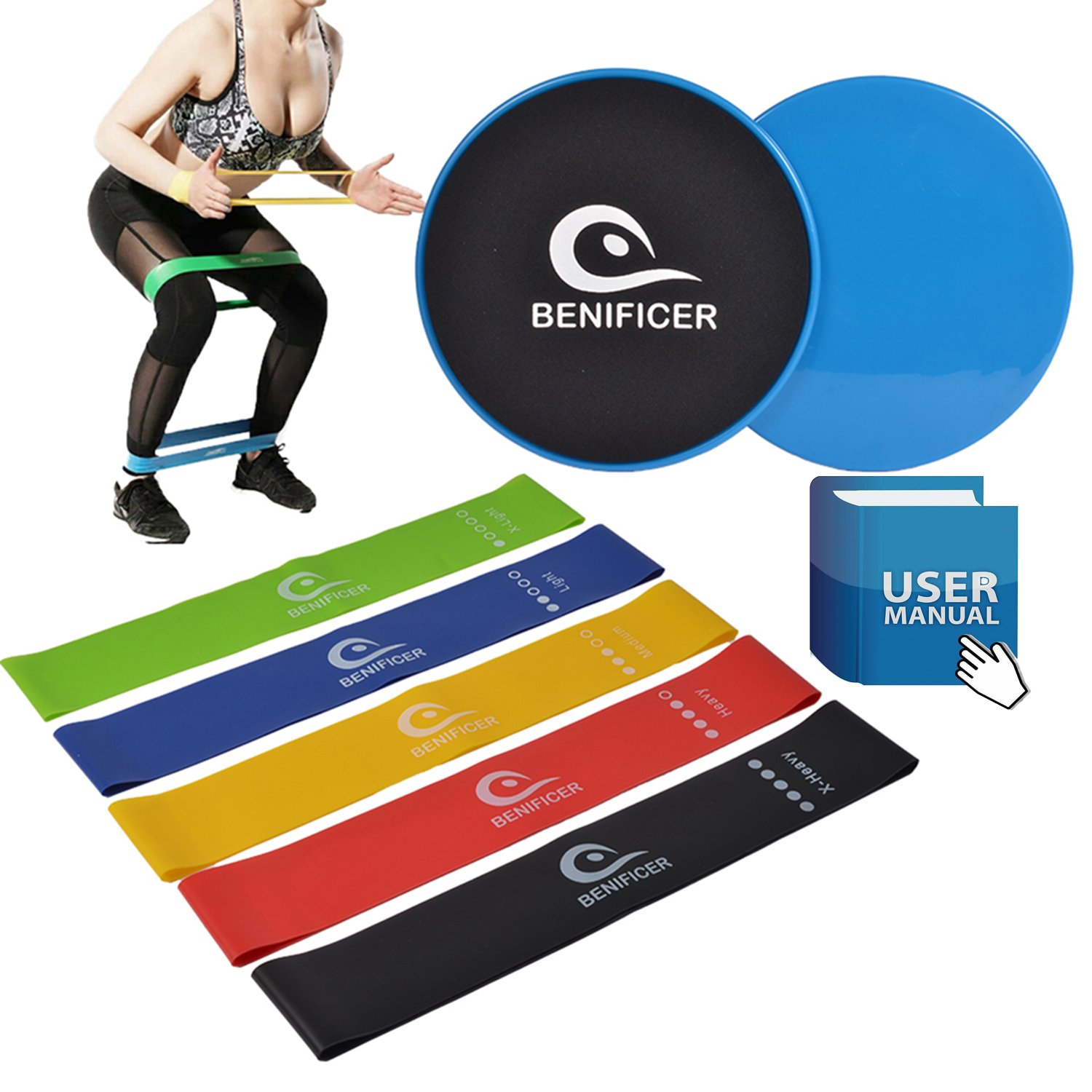 Benificer Core Sliders and Resistance Bands, Set of 5 Exercise Loop Bands with Set of 2 Double-sided Gliding Discs Workout for Fitness Home GYM Yoga,Pilates,Crossfit with Carry Bag and Instruction by Benificer (Image #6)