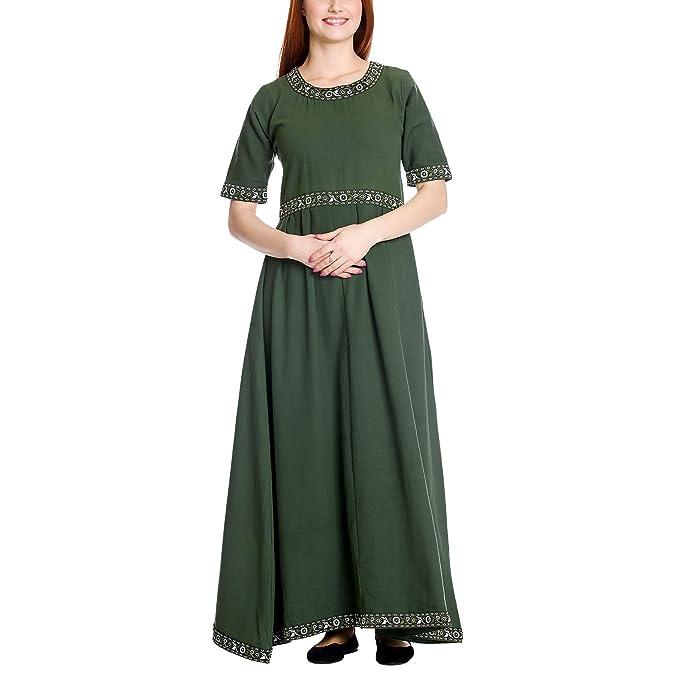 Vestido medieval de señora de manga corta con cordones verde algodón - XS