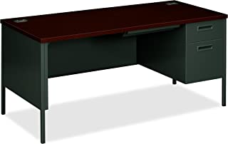 """product image for HON Metro Classic Charcoal Finish Laminate Right Pedestal Desk with 1 Box/1 File Drawer, 66""""W, Mahogany"""