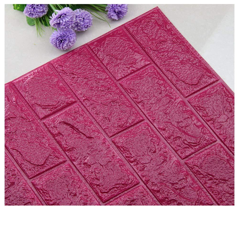PE Foam Wallpaper,DIY 3D Brick Panels Room Decal Stone Decoration Embossed Wall Adornment (H)