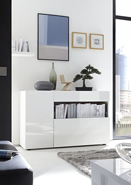 Mobile Contenitore Mobiletto Ingresso Moderno Nike Bianco Lucido Soggiorno Sala Design Amazon It Casa E Cucina