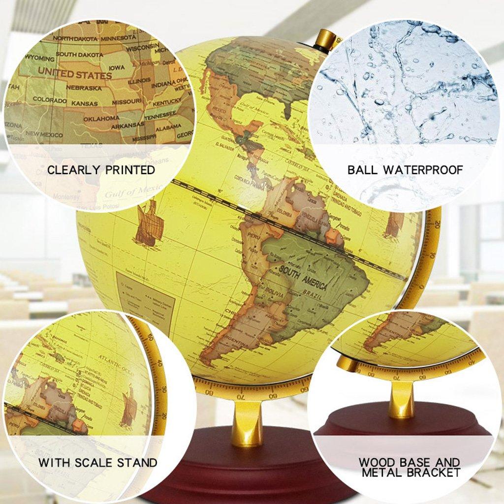 Homyl 23cm Globo de Mapamundi de ABS Rotario de 360 Grados Adornos de Mesa de Casa de Oficina - Amarillo: Amazon.es: Juguetes y juegos