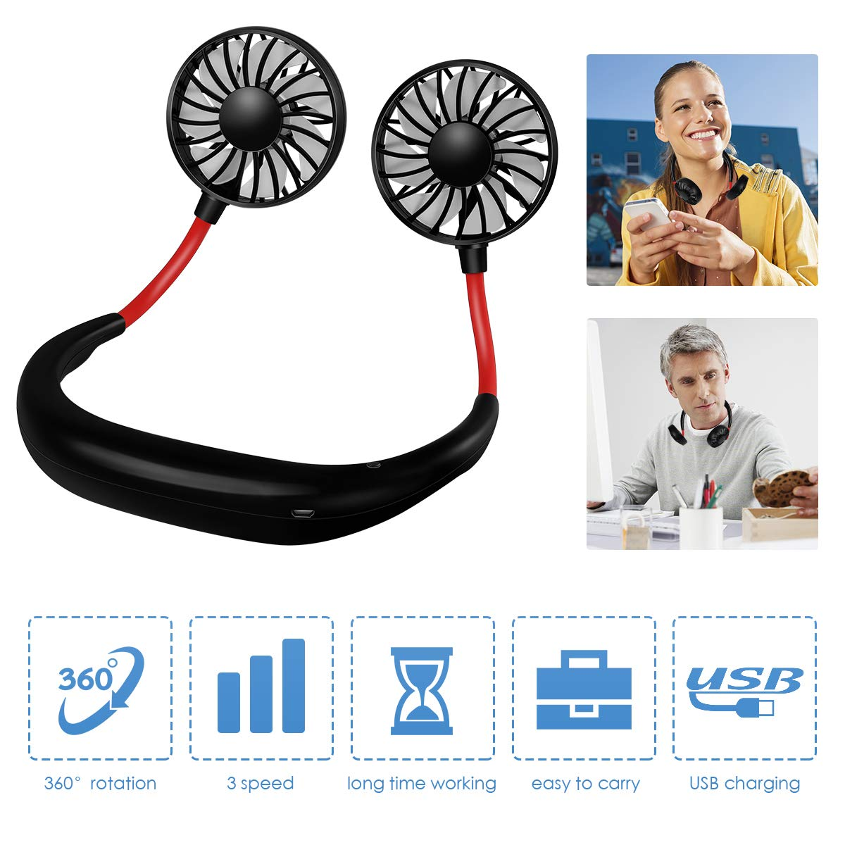 Portable Fan Mini USB FanHand Free Personal Fan Neckband Sport Fan Wearable Desktop Fan, 3 Speeds, USB Rechargeable, 360 Degree Adjustment for Home Office Outdoor Travel