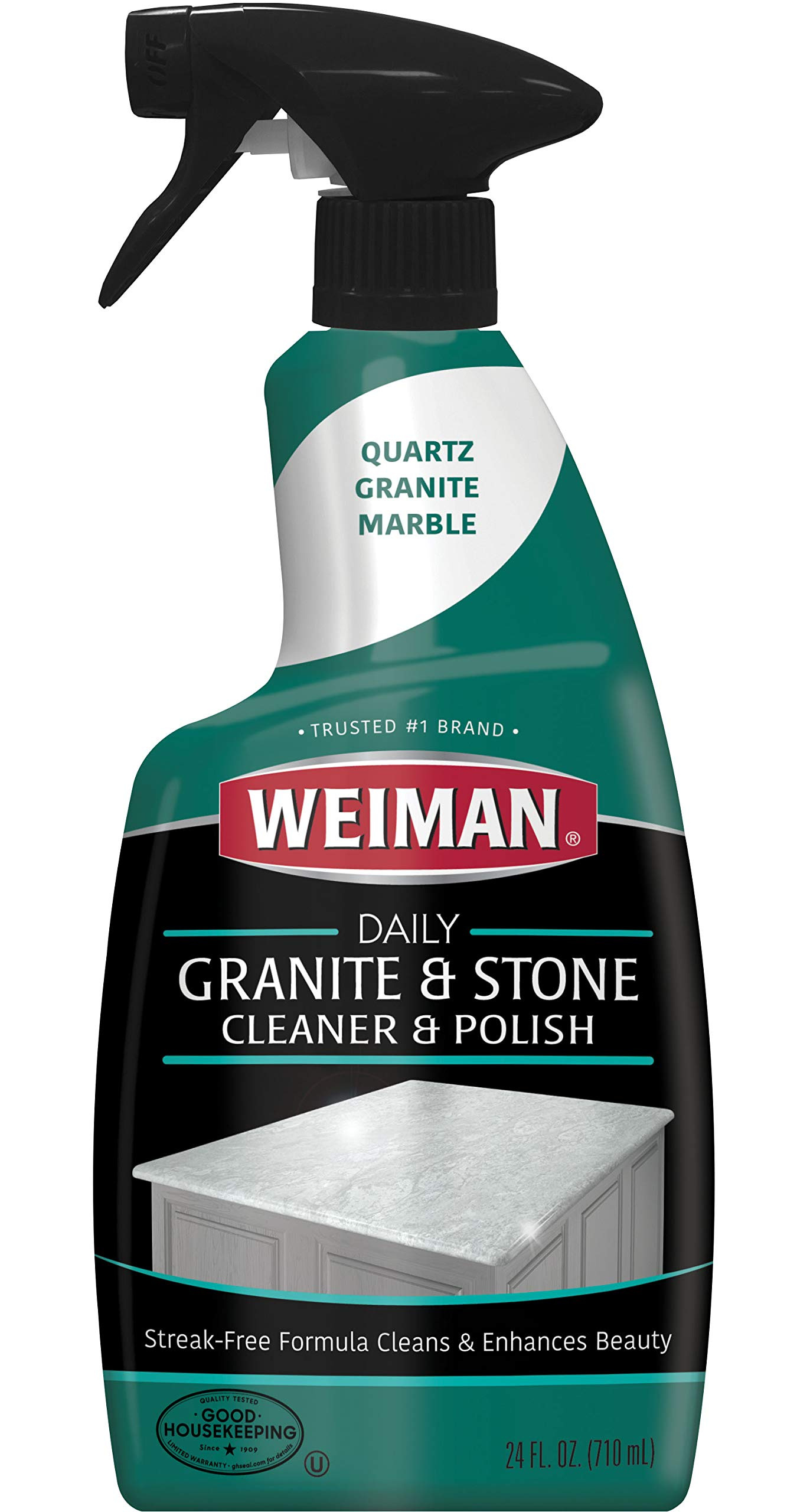 Weiman Granite Cleaner and Polish for Daily Use, Streak-Free Formula for Countertops, Marble, Quartz, Laminate, and Tile (24 Ounce)