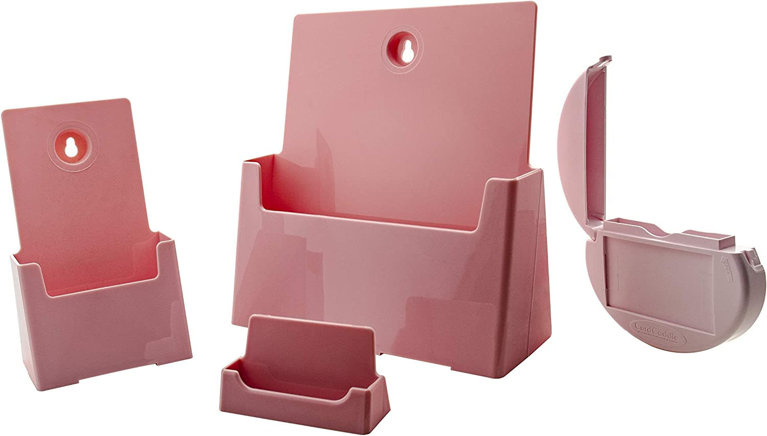 Marketing Holders Mary Kay Pamphlets Starter Kit 1 Catalog Holder, 1 Tri Fold Brochure Holder, 1 Business Card Stand & 1 Vehicle Card Caddie All Pink Acrylic 4 Displays 1 Low Price