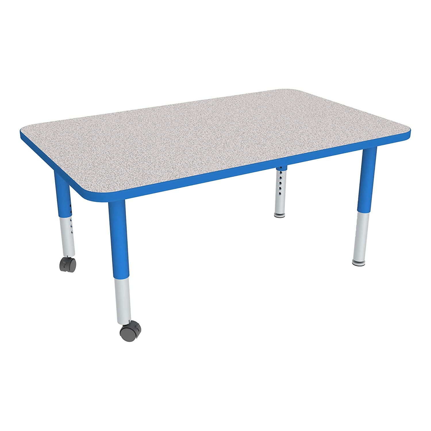 30 W x 60 L Rectangle Adjustable-Height Mobile Preschool Activity Table