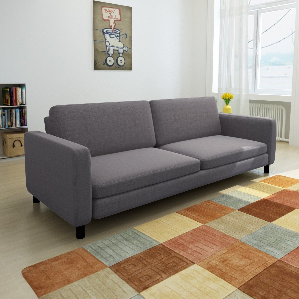 Modern Fabric Upholstry Sofa Couch, 3 Seat, Living Room Furniture Decor, Gray