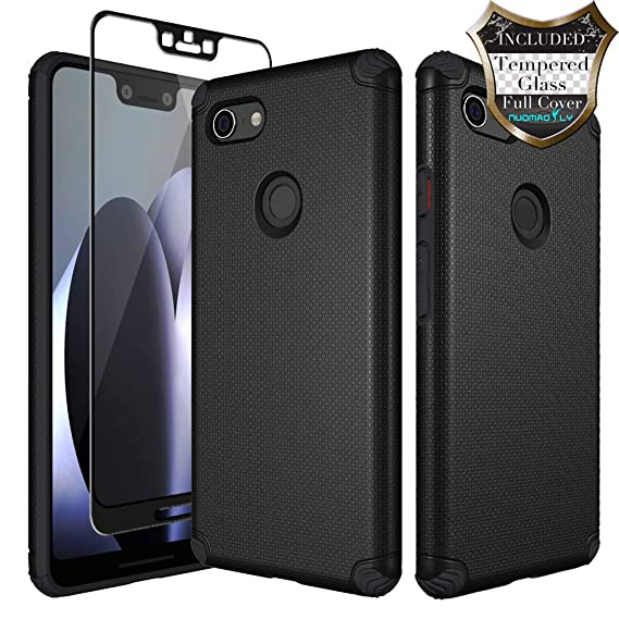 quality design a841d a796d Google Pixel 3 XL Case with [Tempered Glass Screen Protector] Nuomaofly  Shockproof Metal Plate Back for Magnetic Car Mounts Texture Armor  Protective ...