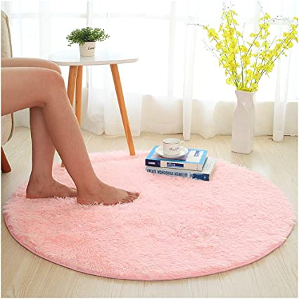 SANMU Soft Round Rug,Fluffy Silky Carpet Fashion Color Smooth Bedroom Mats  Round Shag Floor
