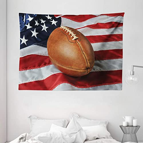 Ambesonne Sports Tapestry, Football Against a USA Flag on a Vertical Format Patriotism National Sport, Wide Wall Hanging for Bedroom Living Room Dorm, 80 X 60 , Navy Blue