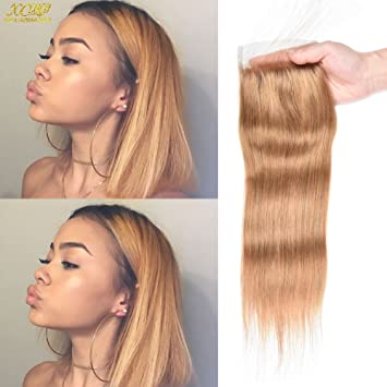 Hair Extensions & Wigs 27# Pure Colored Honey Blonde Bundles With Closure Brazilian Straight Hair Bundles 100% Human Hair Preplucked Lace Closure Remy Moderate Price