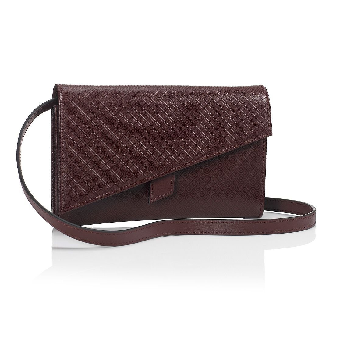Mark Giusti Soho Patterned Leather Clutch (Dark Red, One Size)