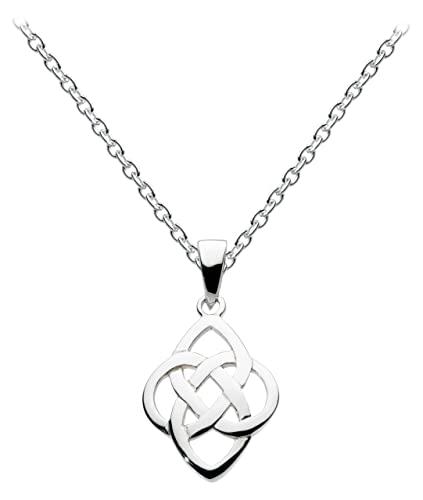 Heritage Women's Sterling Silver Celtic Knotwork Heart Necklace of Length 18 inch beGfK9dHZ