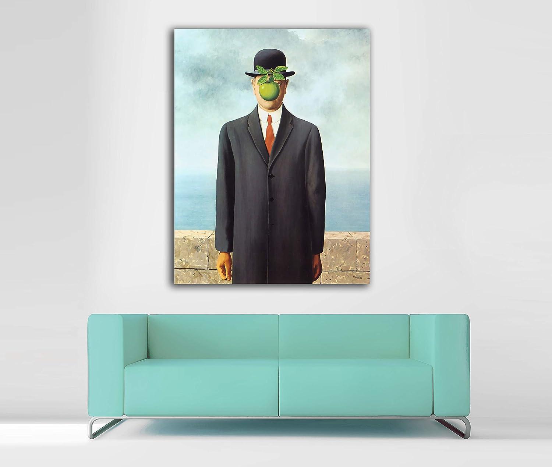 Cuadro Lienzo El Hijo del Hombre de Rene Magritte - Lienzo de Tela Bastidor de Madera de 3 cm - Fabricado en España - Impresión en Alta resolución – Varias Medidas (38, 50)