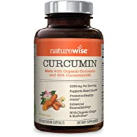 NatureWise Curcumin Turmeric 2250mg | 95% Curcuminoids & BioPerine Black Pepper Extract | Advanced Absorption and Cardiovascular & Healthy Joints Support | Gluten Free, Non-GMO, 90 Count