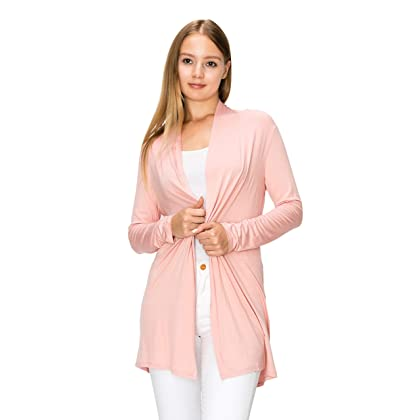 17fa47afcf2 EttelLut Long Open Front Lightweight Cardigan Sweaters Regular and Plus Size  Dusty Rose XXXL