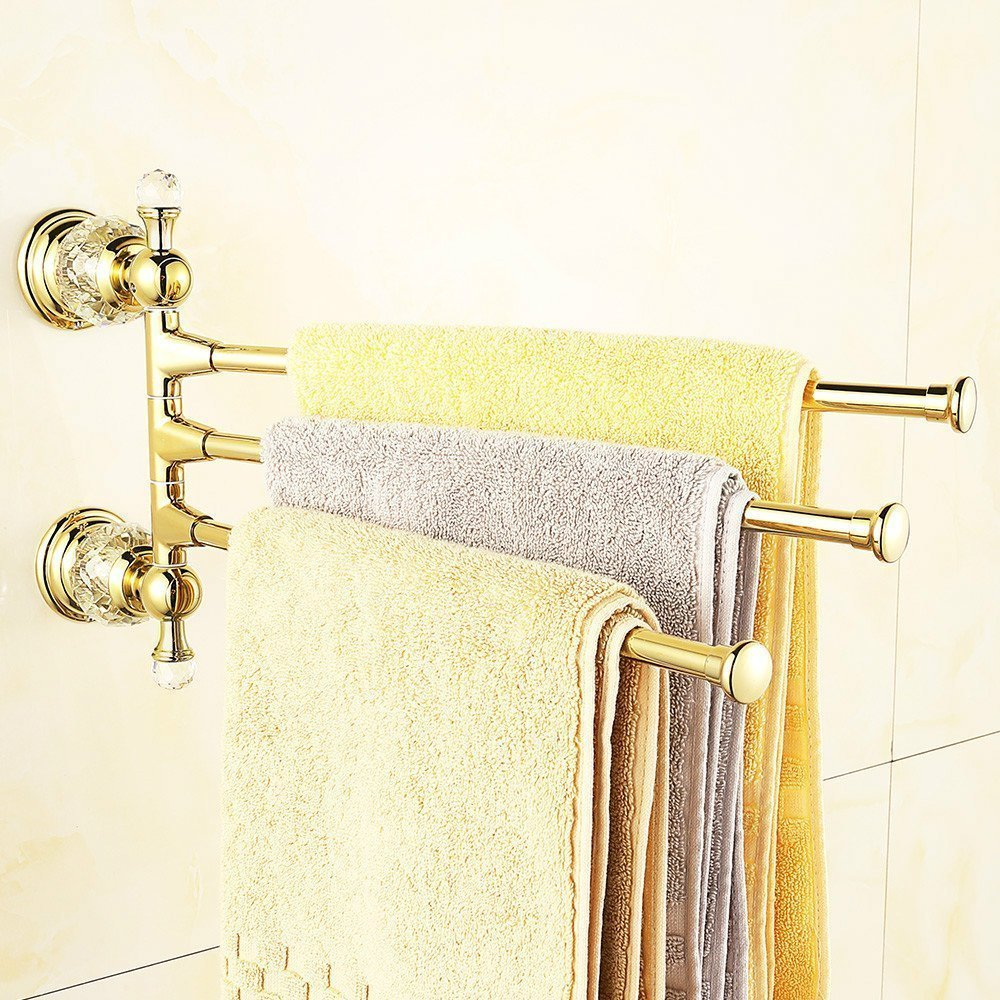 Amazon.com: WINCASE Rotate 3 Towel Bar Towel Holder Rack Rail, made ...