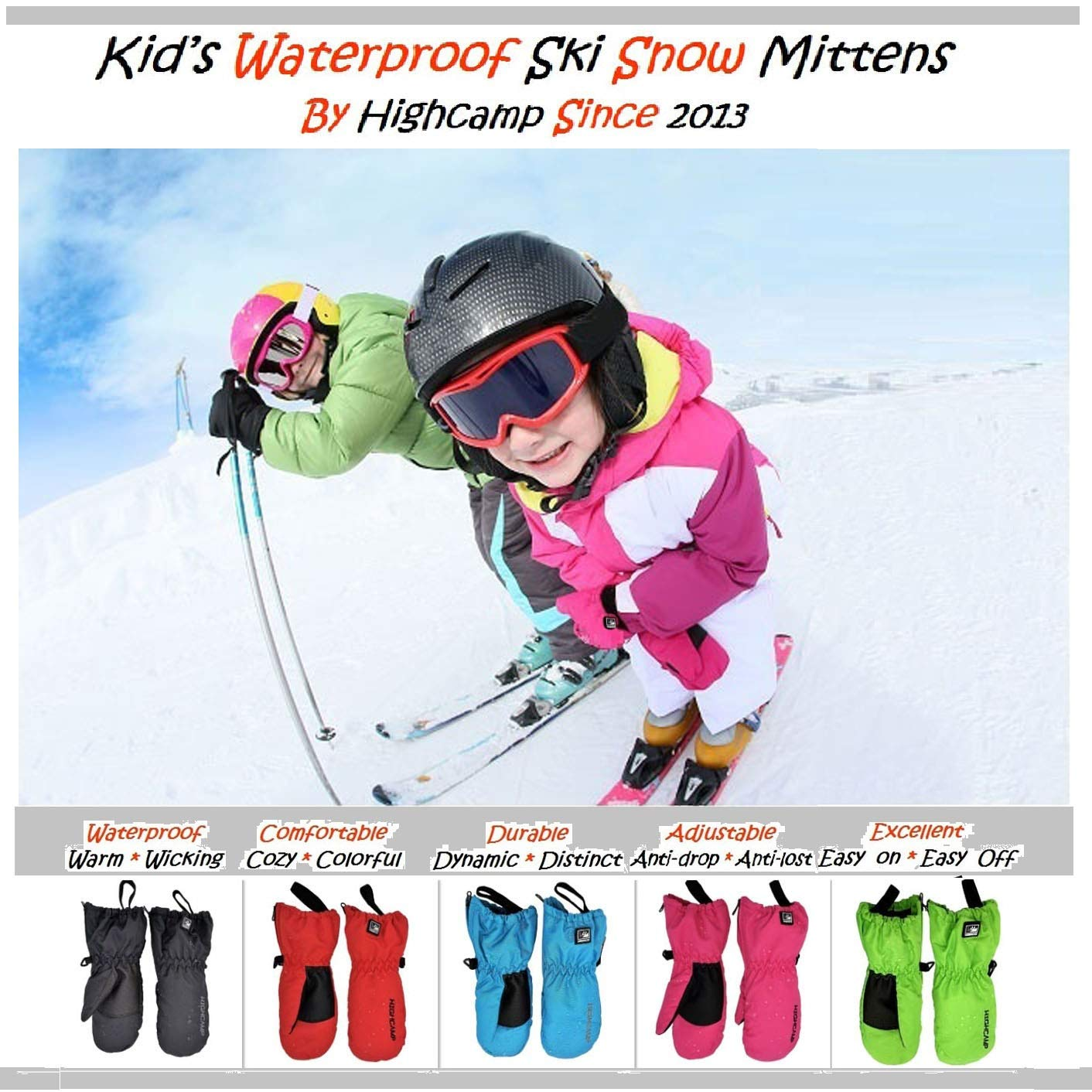 Highcamp Kids Waterproof Snow Mittens Covered Boys Girls Age 2-12