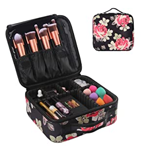 Makeup Cases,Peony Flower Makeup Bag Cosmetic Cases Organizer Portable Storage Bag for Cosmetics Makeup Brushes Toiletry Travel Accessories (Flower)