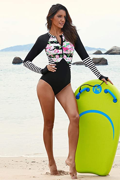 43bf047e22 KaleaBoutique Misses Font Zipper Long Sleeve Swim Wear Rash Guard One Piece  Scuba Swimsuit at Amazon Women's Clothing store: