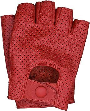 Congac Men/'s Leather Fingerless Half-Finger Driving Motorcycle Gloves