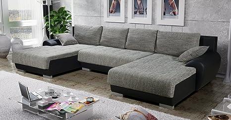 Sofá-cama esquinero Teren en forma de U, color gris y negro ...