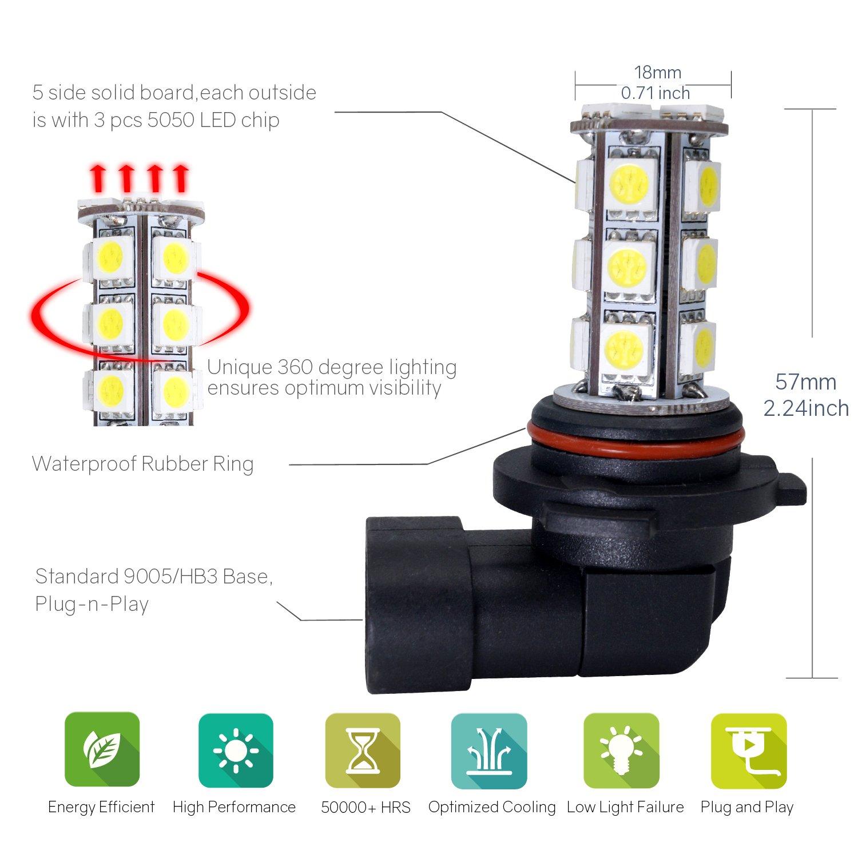 H8//H11/9006//HB4/LED Faros de Niebla Niebla Luz Antiniebla wdtecker Auto Fog Lamp 18/SMD 5050/ 2/unidades